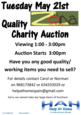 21st May POSTPONED Quality Charity Auction for HAH